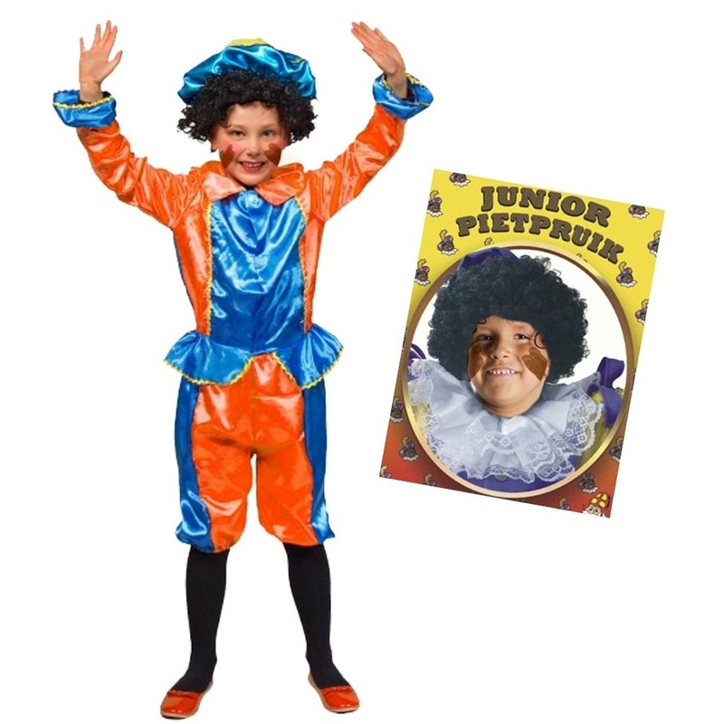 Set van blauw met oranje kids 6-8 jr pietenpak en pruik