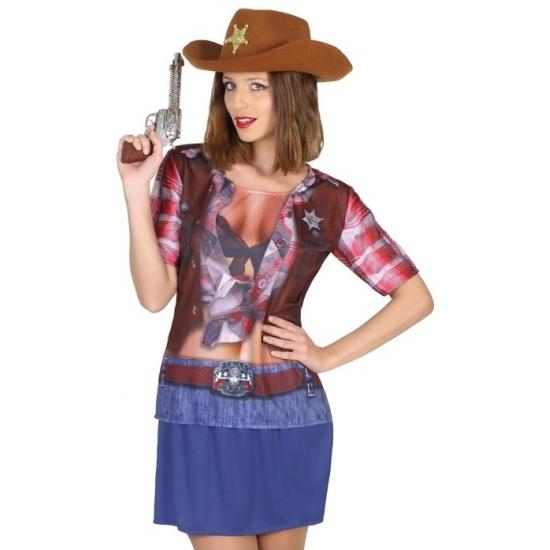 Sheriff cowboy verkleed shirt voor dames