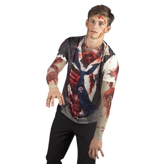 Shirt met zombie opdruk heren
