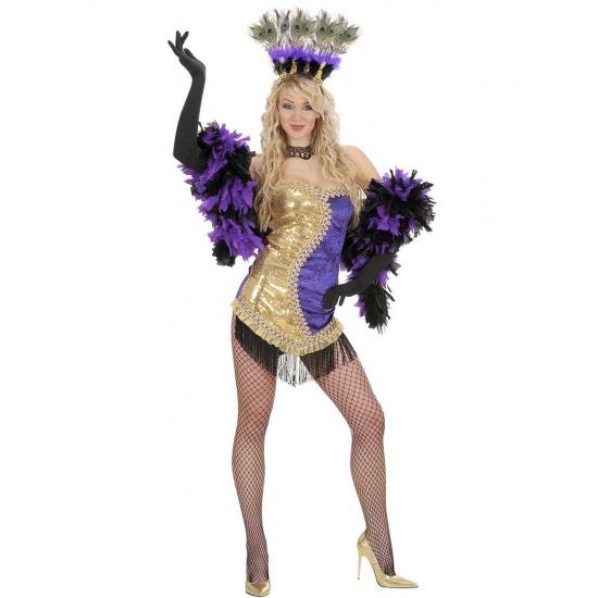 Showgirl kostuum goud/paars