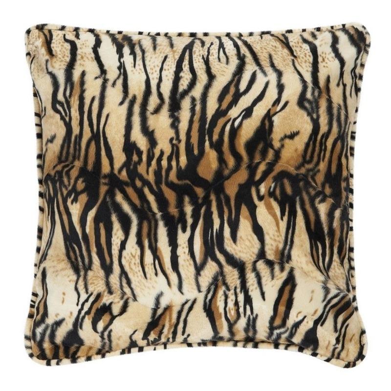 Sierkussen fluweel met tijgerprint 47 x 47 cm