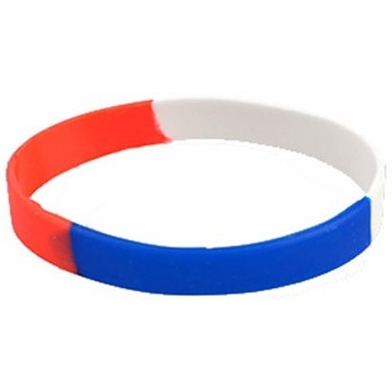 Siliconen armband rood wit blauw