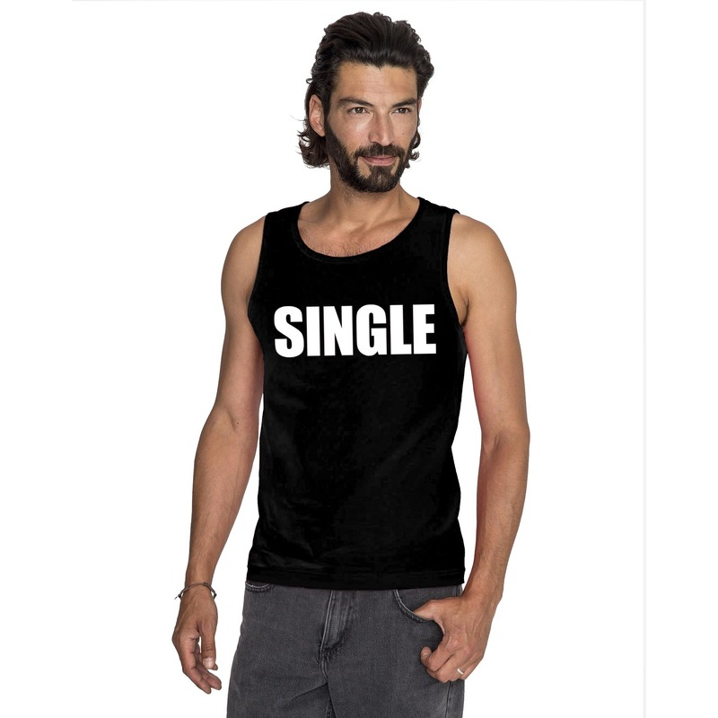 Single tekst singlet shirt/ tanktop zwart heren