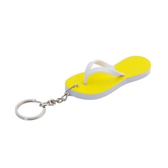 Sleutelhanger gele teenslipper 8 cm