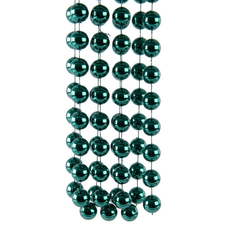 Smaragd groene kerstversiering kralenketting 270 cm