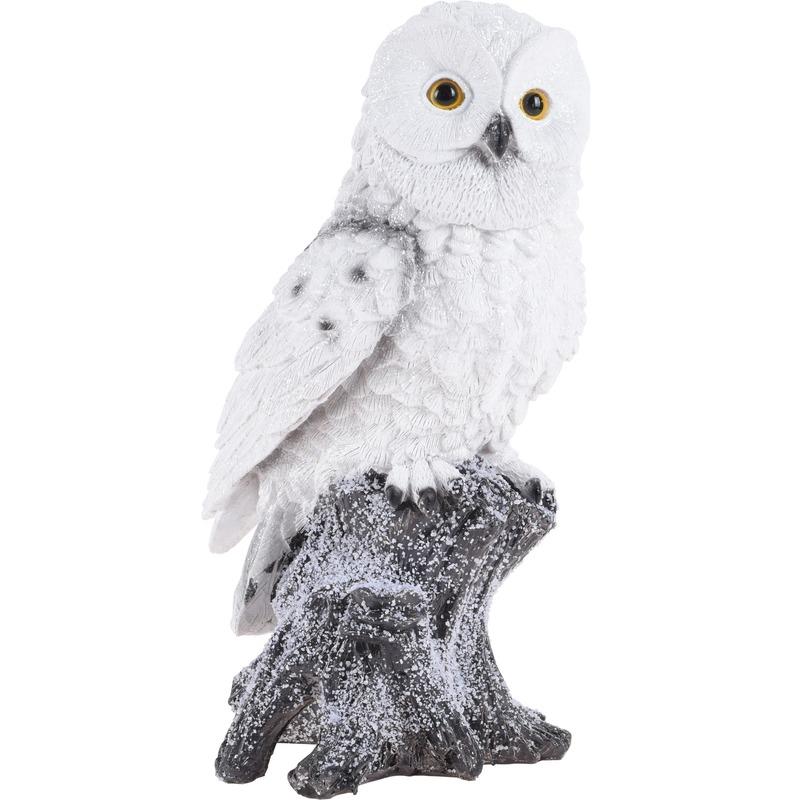 Sneeuwuil op boomstam beeldje 26 cm decoratie type 1