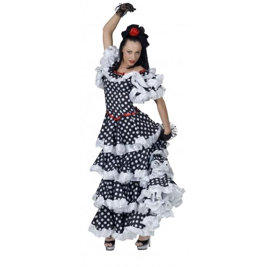 Spaanse flamenco jurk zwart/wit