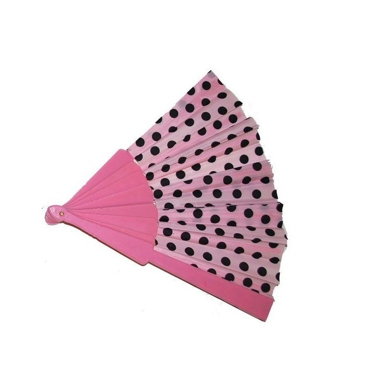 Spaanse waaier roze met zwarte stippen