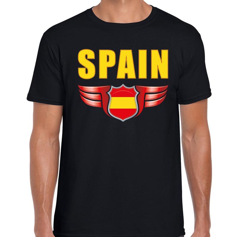 Spain landen t-shirt Spanje zwart voor heren