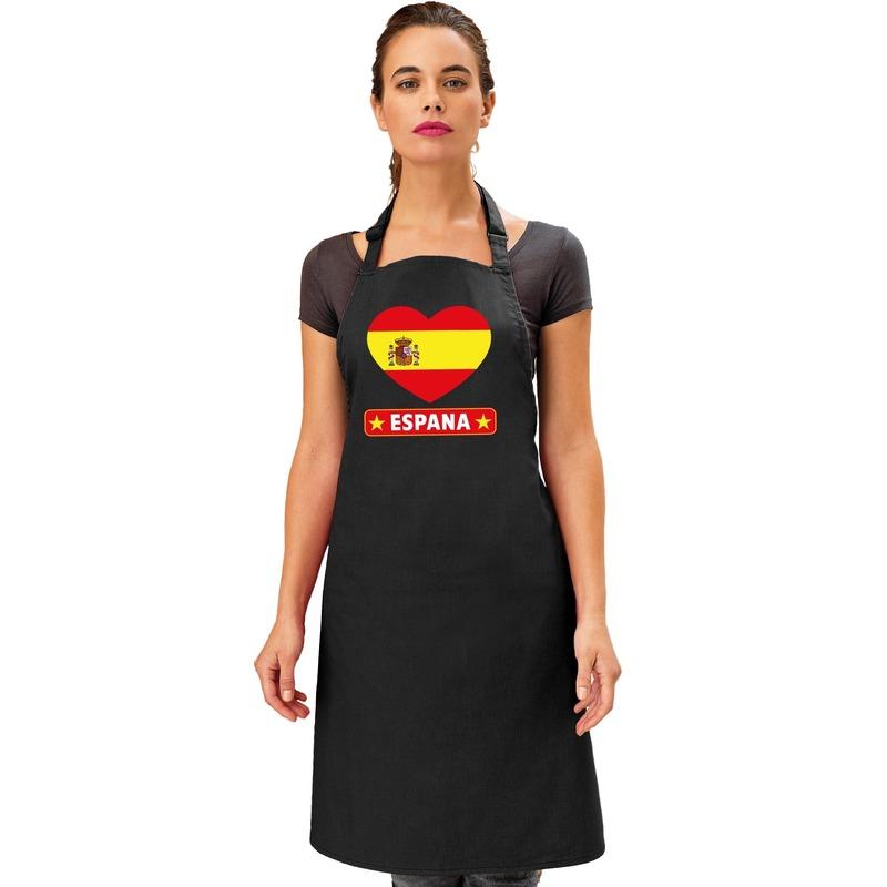 Spanje hart vlag barbecueschort/ tapas keukenschort zwart Zwart