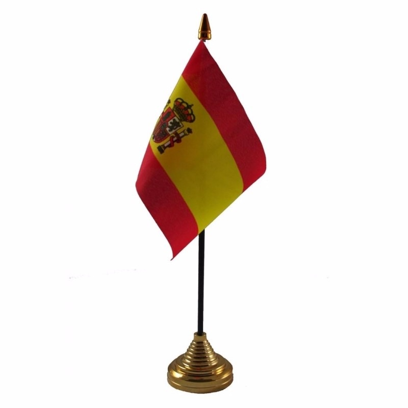 Spanje tafelvlaggetje 10 x 15 cm met standaard