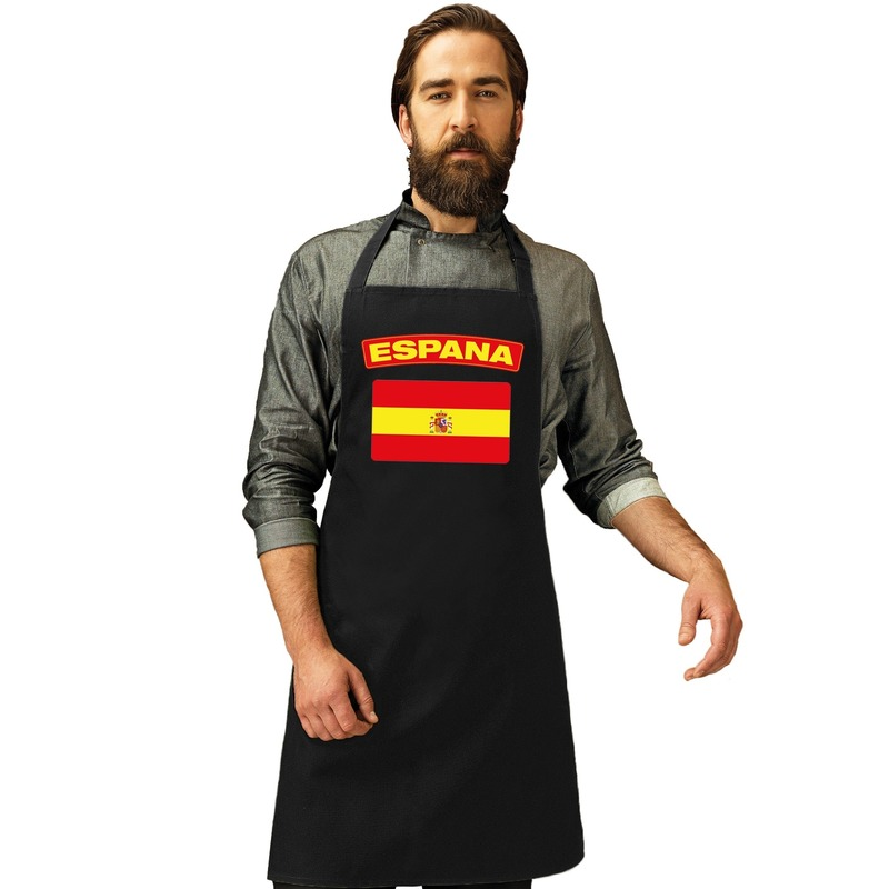Spanje vlag barbecueschort/ tapas keukenschort zwart volwassenen Zwart