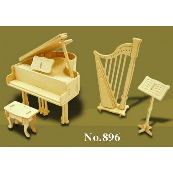 Speelgoed poppenhuis muziekinstrumenten bouwpakket - Poppenhuisinrichting