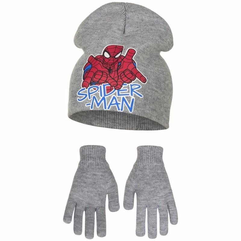 Spiderman winterset grijs voor jongens 2 delig