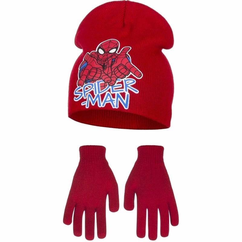 Spiderman winterset rood voor jongens 2 delig
