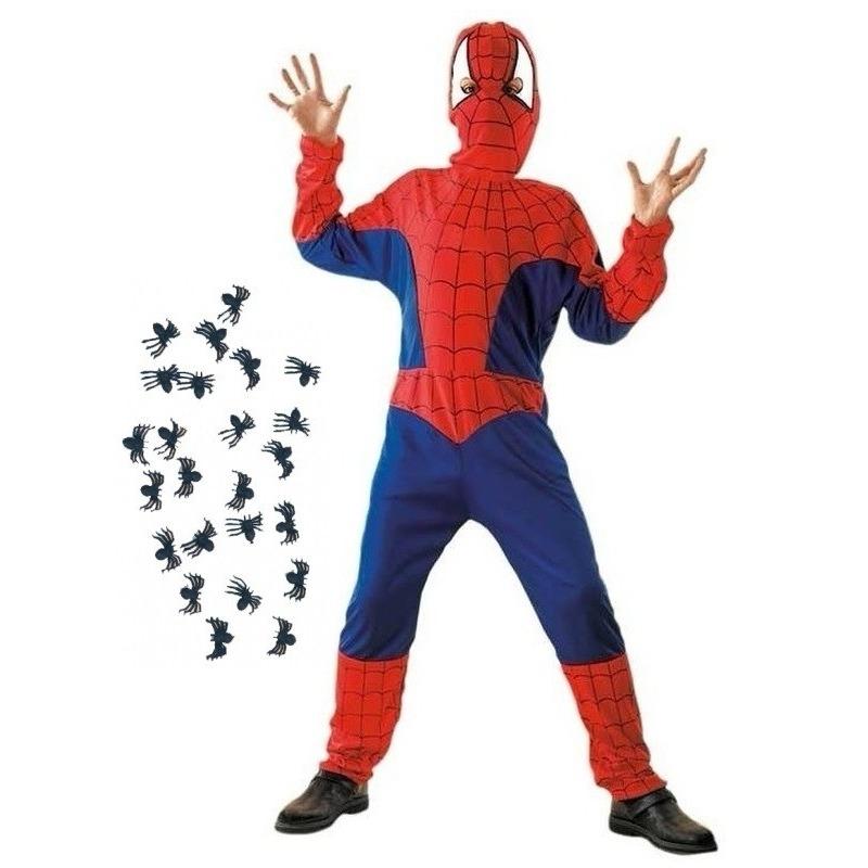 Spinnenheld kostuum maat L met spinnetjes voor kinderen