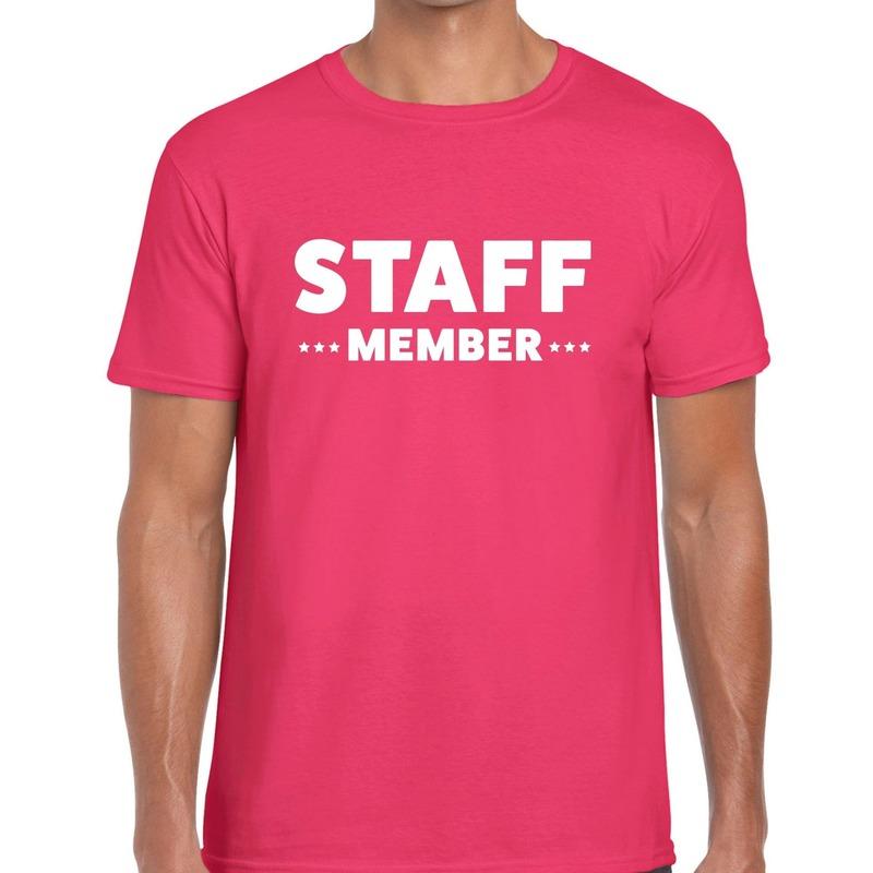 Staff member - personeel tekst t-shirt roze heren