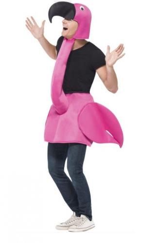 Step-in flamingo kostuum voor volwassenen