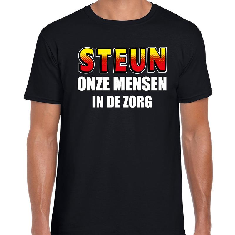 Steun onze mensen in de zorg t-shirt zwart voor heren