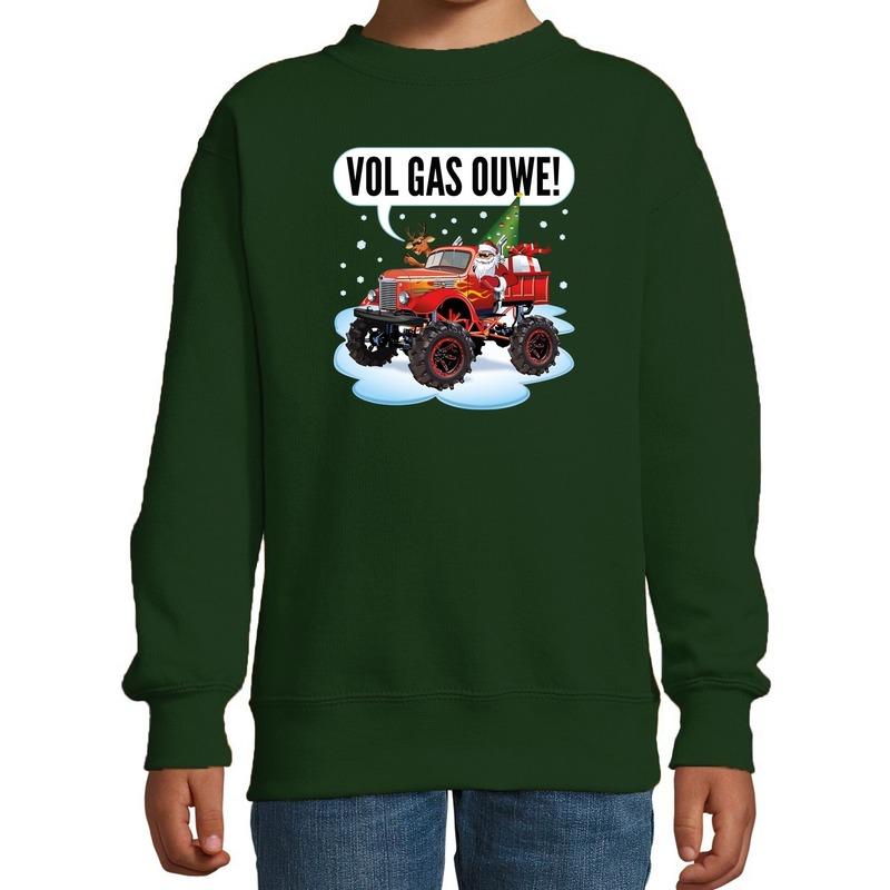 Stoere kersttrui - sweater vol gas ouwe monstertruck groen kids