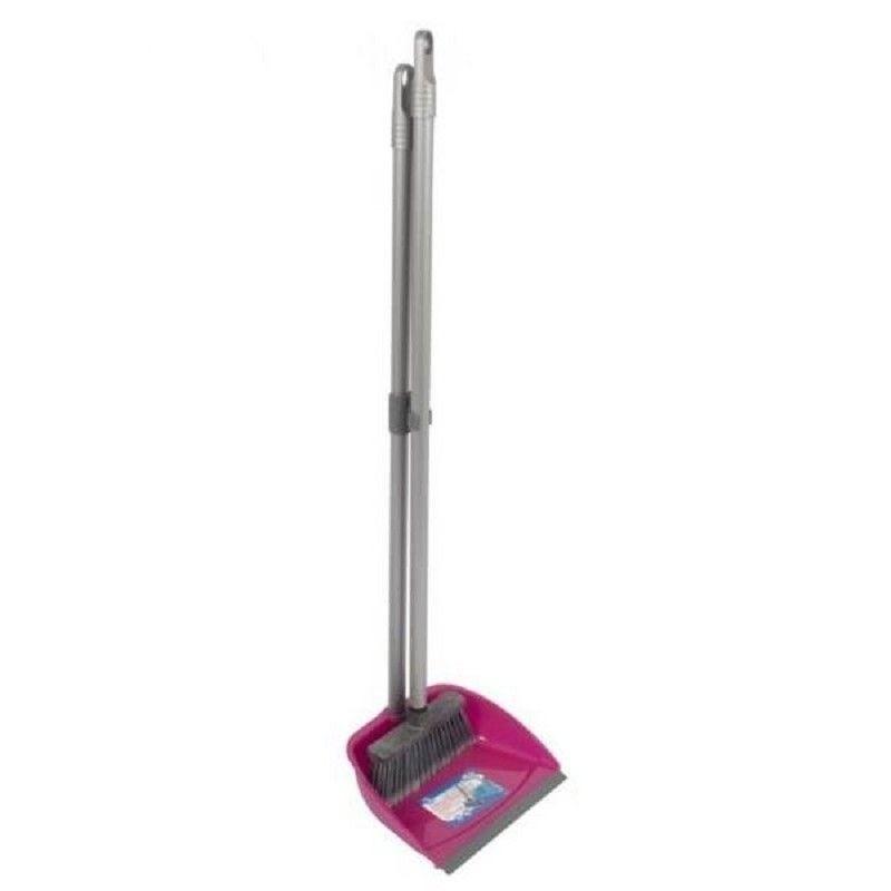 Stoffer en blik roze met lange steel 76 cm