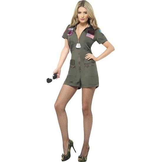 Straaljager piloten Top Gun jumpsuit kort voor dames