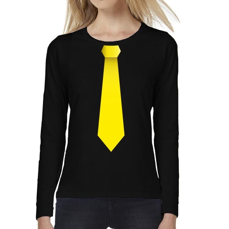 Stropdas geel long sleeve t-shirt zwart voor dames