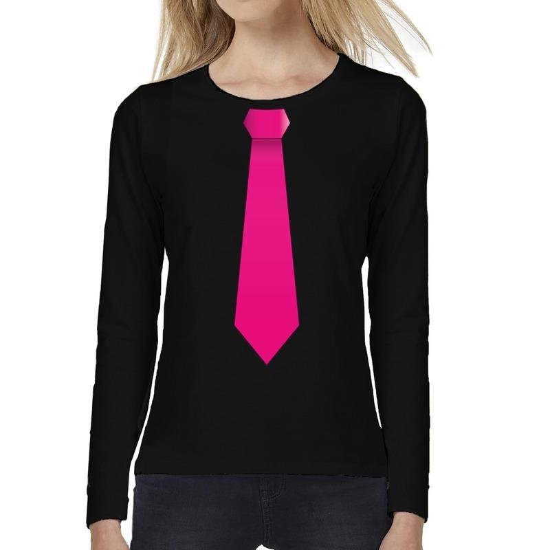 Stropdas roze long sleeve t-shirt zwart voor dames