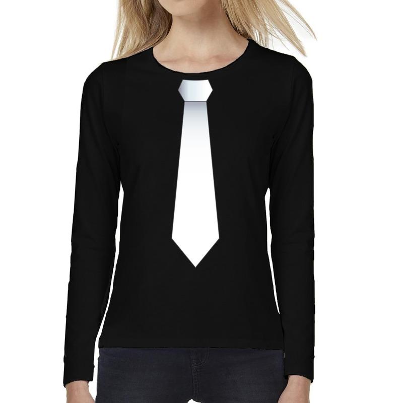 Stropdas wit long sleeve t-shirt zwart voor dames