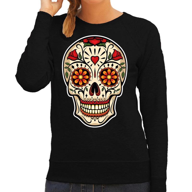 Sugar skull fashion sweater rock - punker zwart voor dames
