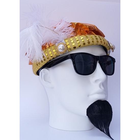 Sultan hoed goudkleurig met pluim Goudkleurig