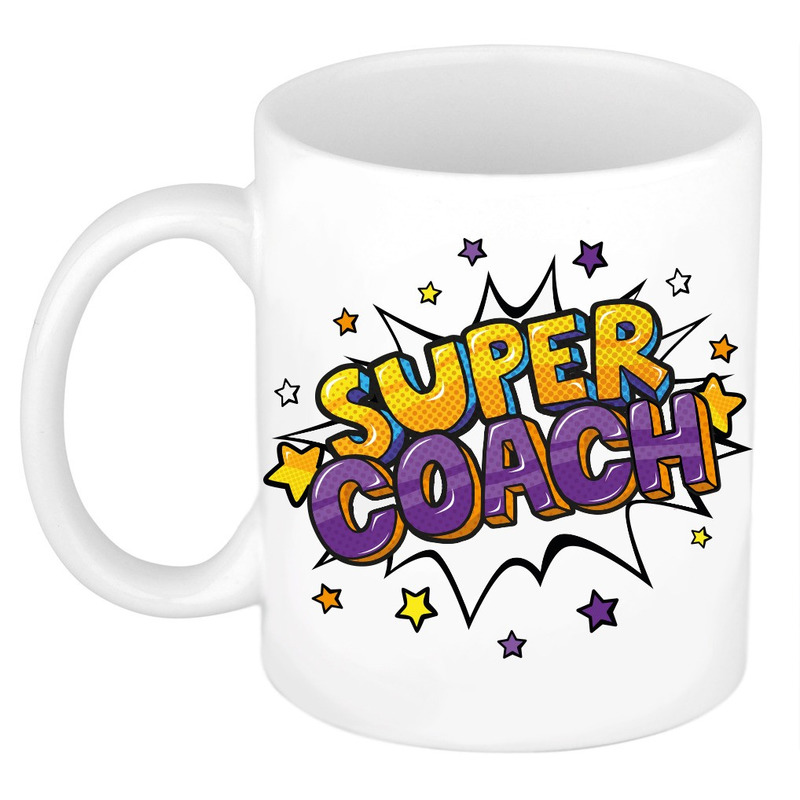 Super coach cadeau mok - beker wit met sterren 300 ml
