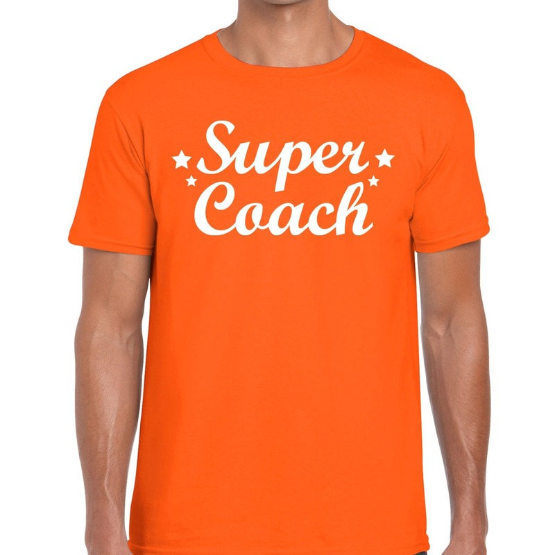 Super Coach cadeau t-shirt oranje voor heren