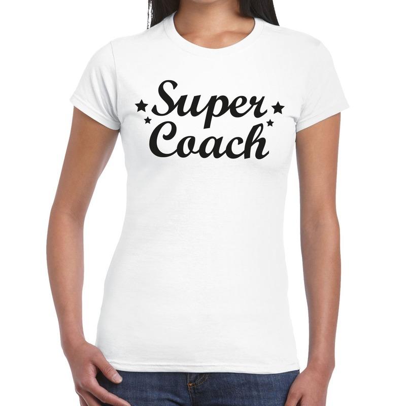 Super Coach cadeau t-shirt wit voor dames