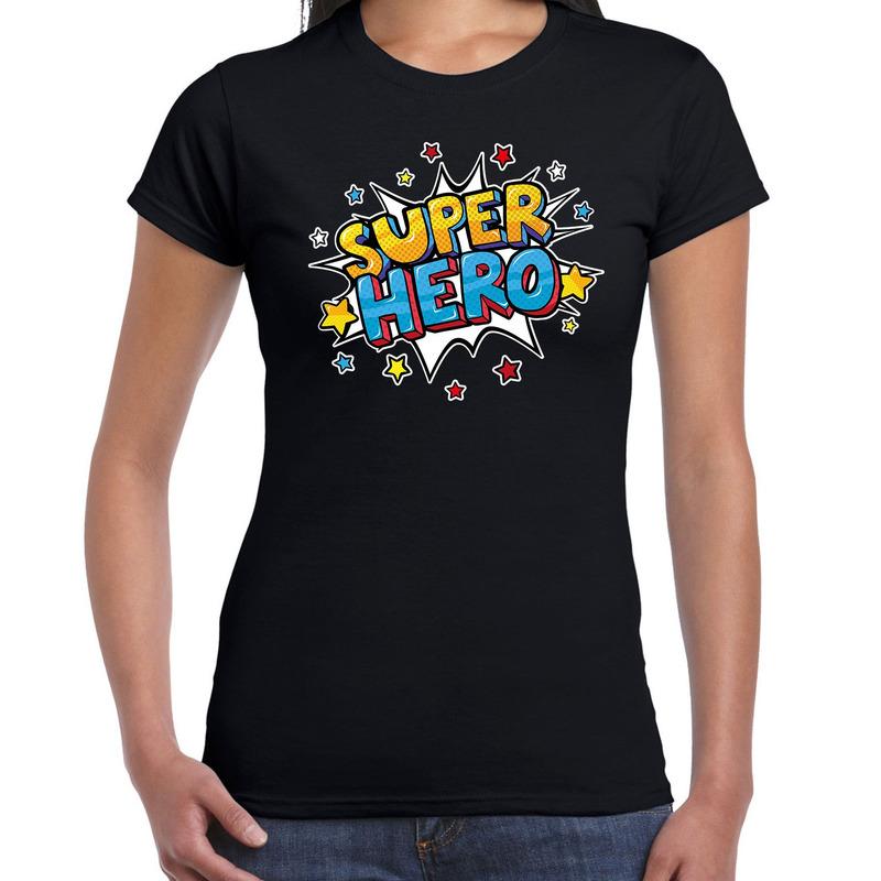 Super hero cadeau t-shirt zwart voor dames