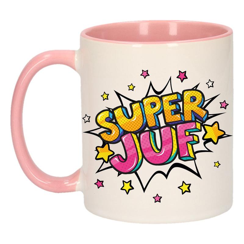 Super juf cadeau mok - beker roze en wit met sterren 300 ml