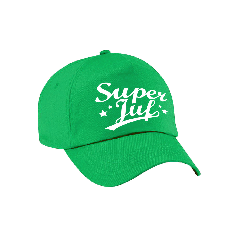 Super juf cadeau pet /cap groen voor dames
