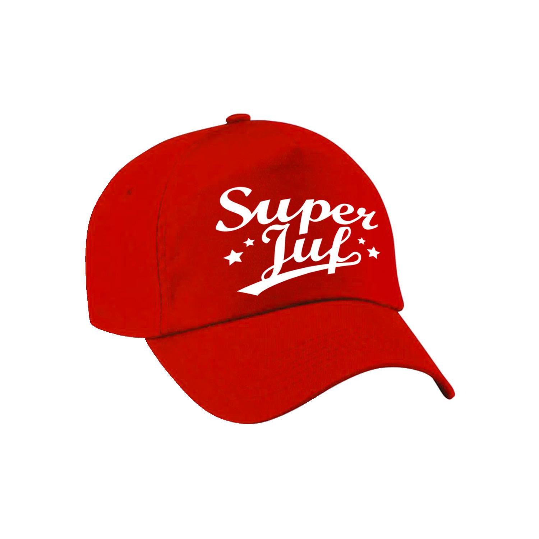 Super juf cadeau pet /cap rood voor dames