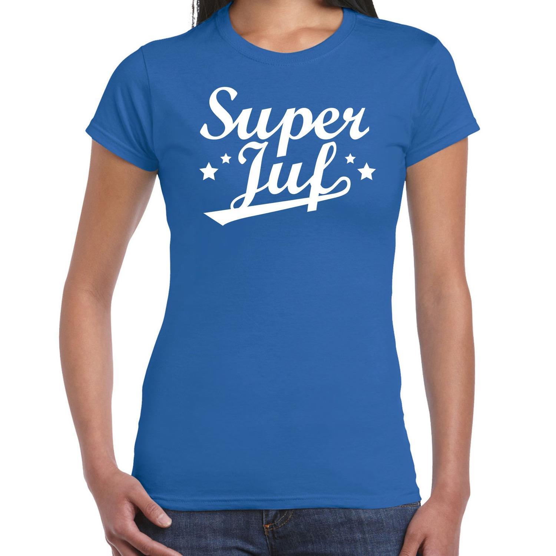 Super juf cadeau t-shirt blauw voor dames