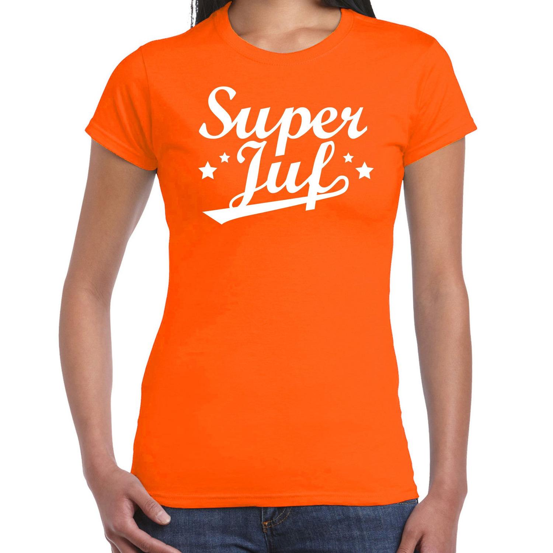 Super juf cadeau t-shirt oranje voor dames