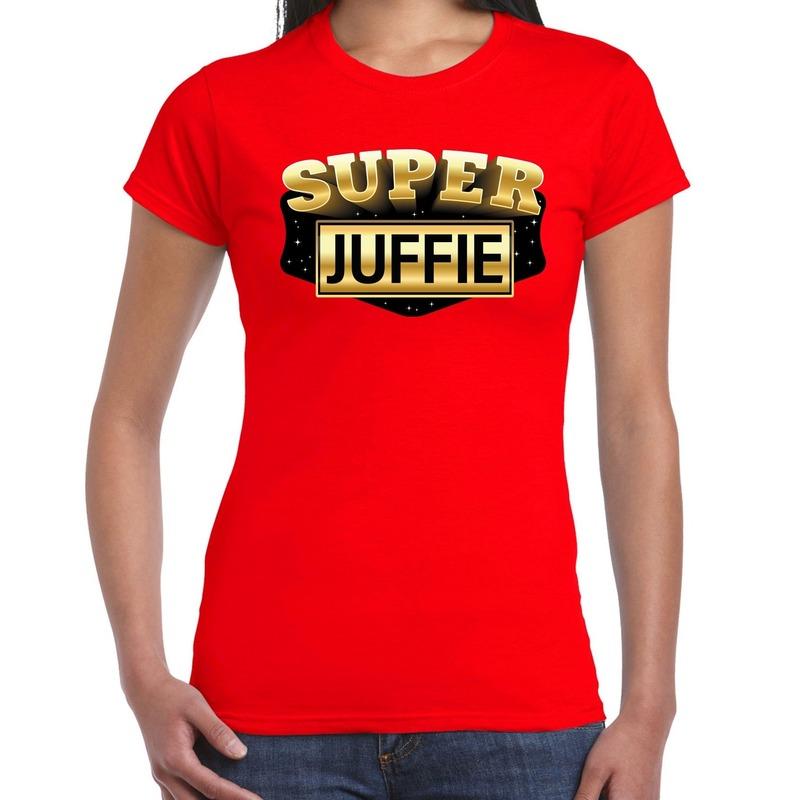 Super Juffie cadeau t-shirt rood voor dames