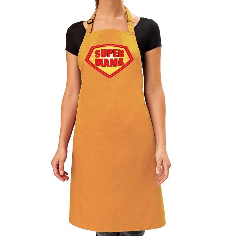 Super mama barbeque schort - keukenschort oker geel dames Geel