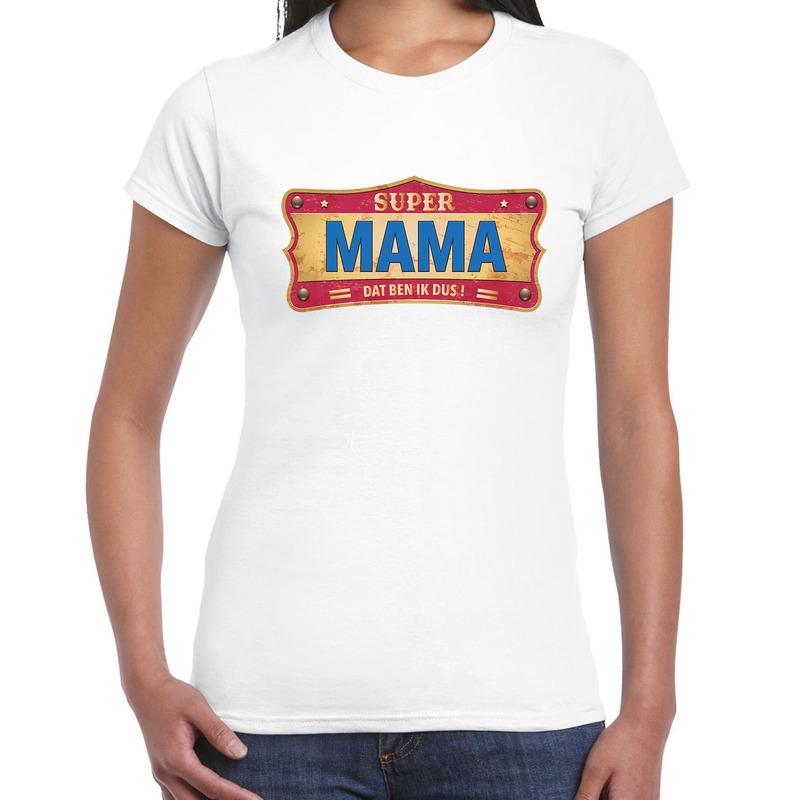 Super mama cadeau - kado t-shirt vintage wit voor dames