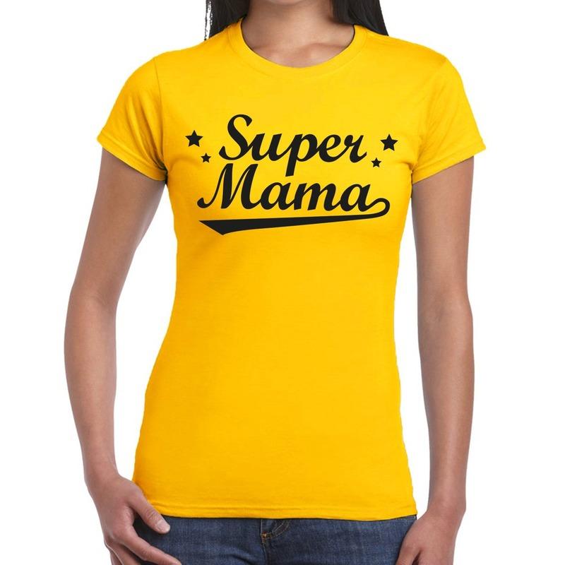 Super mama cadeau t-shirt geel dames