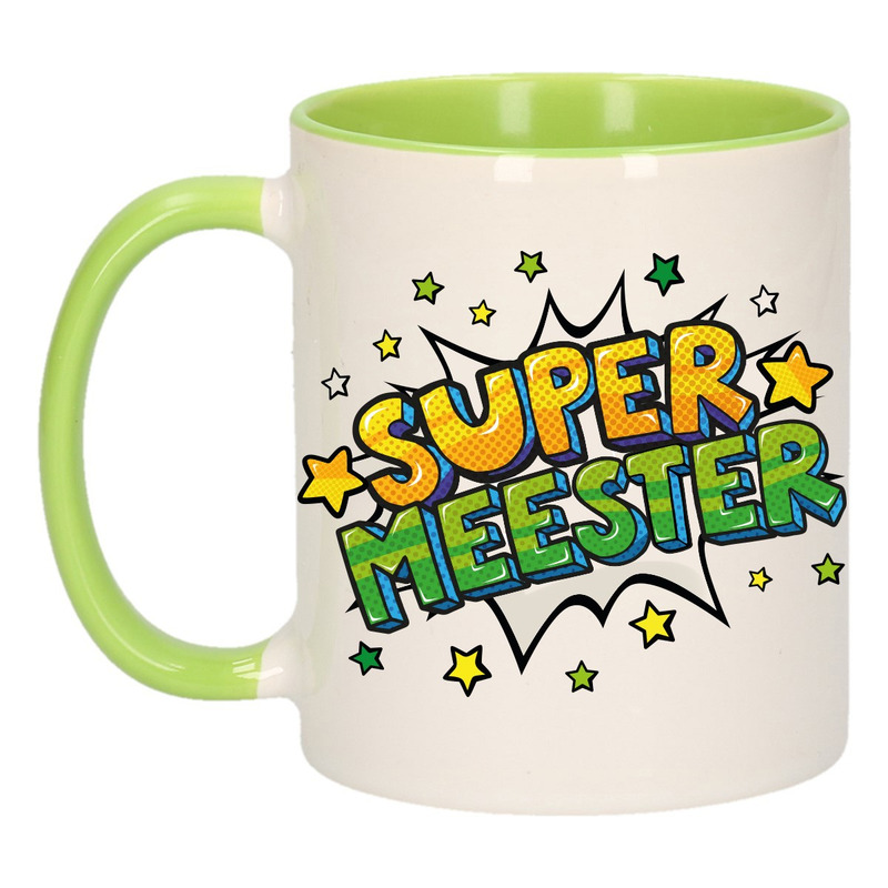 Super meester cadeau mok - beker wit en groen sterren 300 ml
