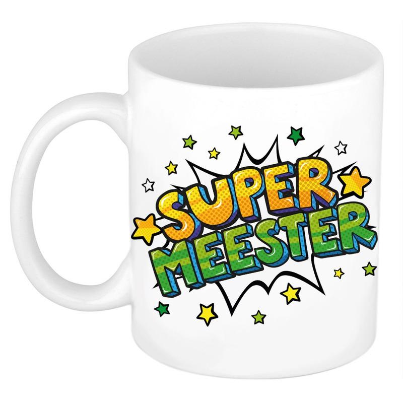 Super meester cadeau mok - beker wit met sterren 300 ml