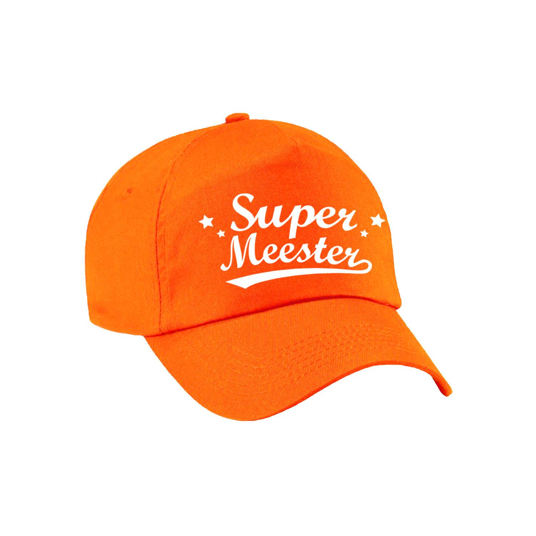 Super meester cadeau pet /cap oranje voor heren