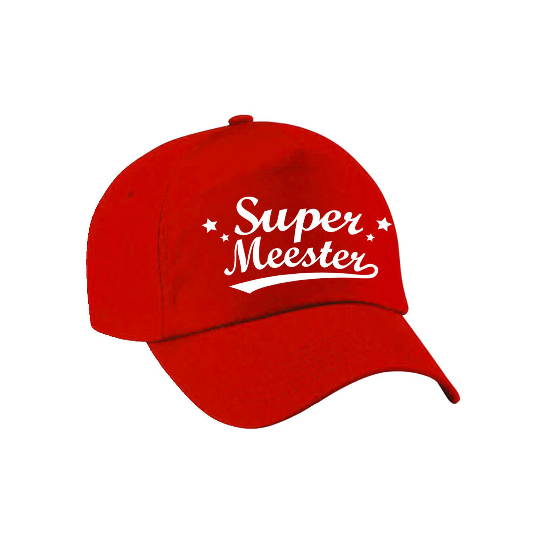 Super meester cadeau pet /cap rood voor heren