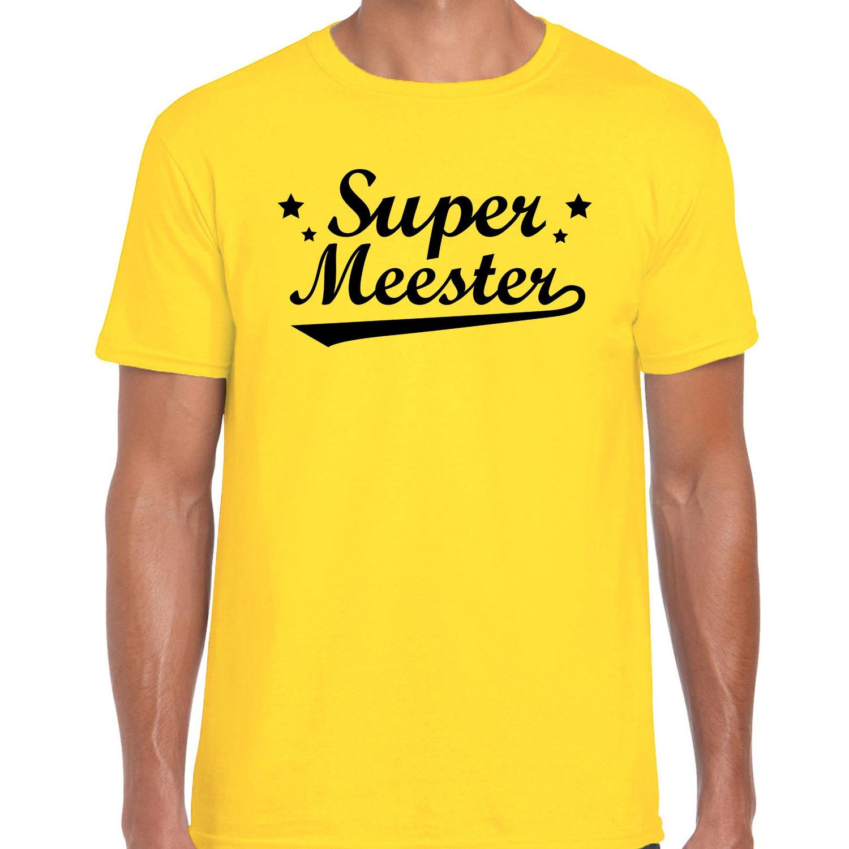 Super meester cadeau t-shirt geel heren