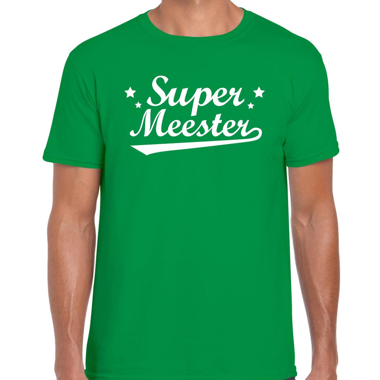 Super meester cadeau t-shirt groen heren